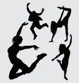 dancer male and female action gesture silhouette vector image vector image