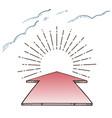 direction arrow aim to sunburst vector image vector image
