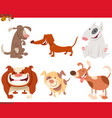 dogs and puppies cartoon characters set vector image
