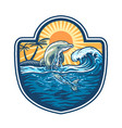 dolphin jumps over sea vector image
