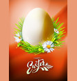easter egg poster on orange vector image vector image
