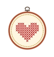 Embroidery hoop with heart isolated on white vector image vector image