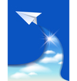 Flyer template with paper airplane vector image vector image