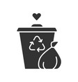 garbage disposal glyph icon waste management vector image vector image
