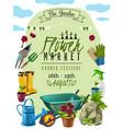 garden market poster vector image vector image
