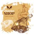 hand drawn sketch meat butcher shop background vector image vector image