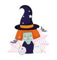happy halloween witch cartoon skull ghost bats vector image vector image