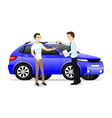 happy man takes keys to a new blue car vector image