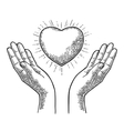 Heart with rays in open female human palms vector image