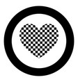 heart with square icon black color in circle vector image vector image