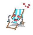 in love beach chair mascot cartoon vector image