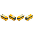 isometric yellow minibus collection urban vector image