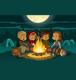 kids camping in the forest at night near big fire vector image vector image