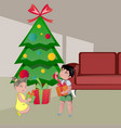 kids opening gifts on christmas vector image vector image