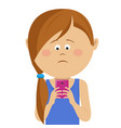 little girl received bad news on mobile smartphone vector image