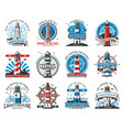 nautical lighthouse buildings beacon icons vector image vector image