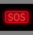 neon sign sos the inscription on a dark background vector image vector image
