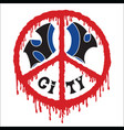 new york city in a sign peace in blood vector image vector image