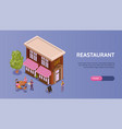 restaurant isometric banner vector image vector image