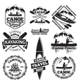 set canoe and kayak labels two man in a boat vector image vector image