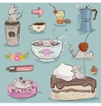 set mouse with desserts and tea vector image