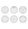 set of wireframe mesh spheres network line hud vector image vector image