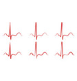 set pulse hand drawn red heartbeat icon vector image