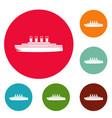 ship retro icons circle set vector image