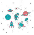 space icon set with cosmonaut satellites ufo mars vector image vector image