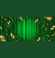 spotlight on green curtain and golden confetti vector image vector image