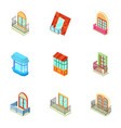 storefront icons set isometric style vector image vector image