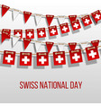 swiss national day background with hanging flags vector image vector image