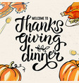 thanksgiving day card with traditional dish vector image