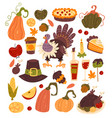 thanksgiving hand drawn isolated set vector image