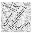 Thermal Biofeedback and Migraines Word Cloud vector image vector image