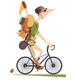 traveler man rides a bike isolated vector image vector image