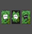 tropical leaves and circle copyspace background vector image vector image