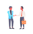 two businessmen shaking hands business men vector image