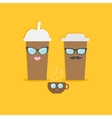 Two disposable coffee paper cups and tecup with vector image vector image