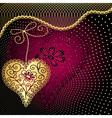 Vintage purple valentine frame vector image vector image
