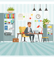 workspace of busy businessman boss or company vector image