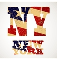 Vintage lettering NY and new York flag of the USA vector image