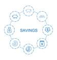 8 savings icons vector image vector image