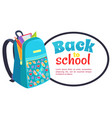back to school poster with fashionable backpack vector image vector image