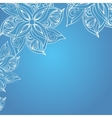 Blue background with floral ornament vector image vector image