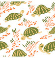 cartoon turtles in the reeds seamless pattern vector image vector image