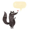 cartoon waving wolf with speech bubble vector image vector image