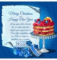 Christmas cake gift boxes and card for text vector image vector image