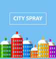 city buildings of spray paint banner vector image