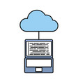 cloud computing laptop programming code storage vector image vector image